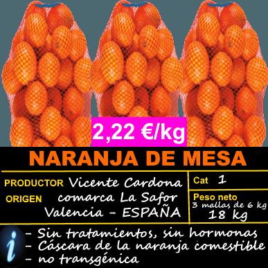 3 MALLAS DE 6 KG DE NARANJA DE MESA ► OFERTA 2,22 €/KG