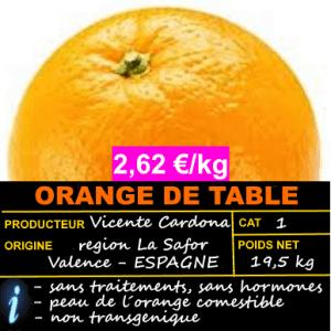 ORANGE DE TABLE ► OFFRE 2,62 €/