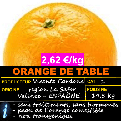 ORANGE DE TABLE ► OFFRE 2,62 €/