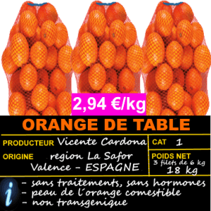 3 FILETS DE 6 KG D´ORANGE DE MESA ► OFFRE 2,94 €/G
